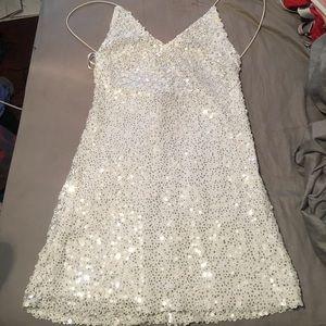 White Sequin Lulus Dress